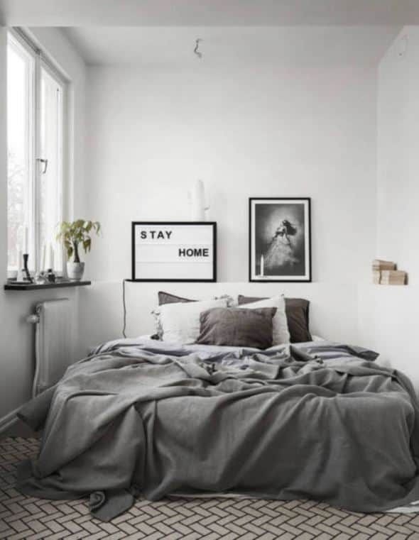 gray minimalist bedroom
