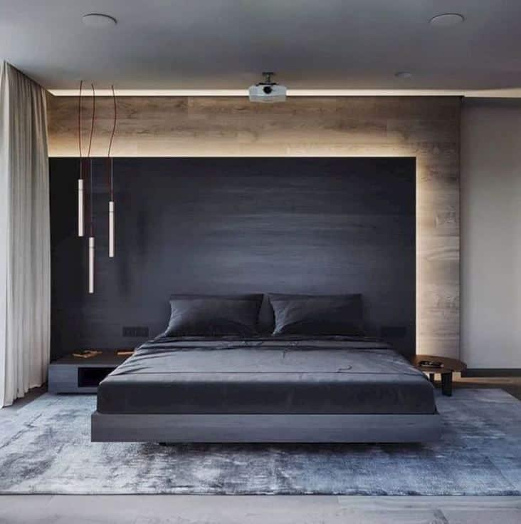 minimalist bedroom with rug