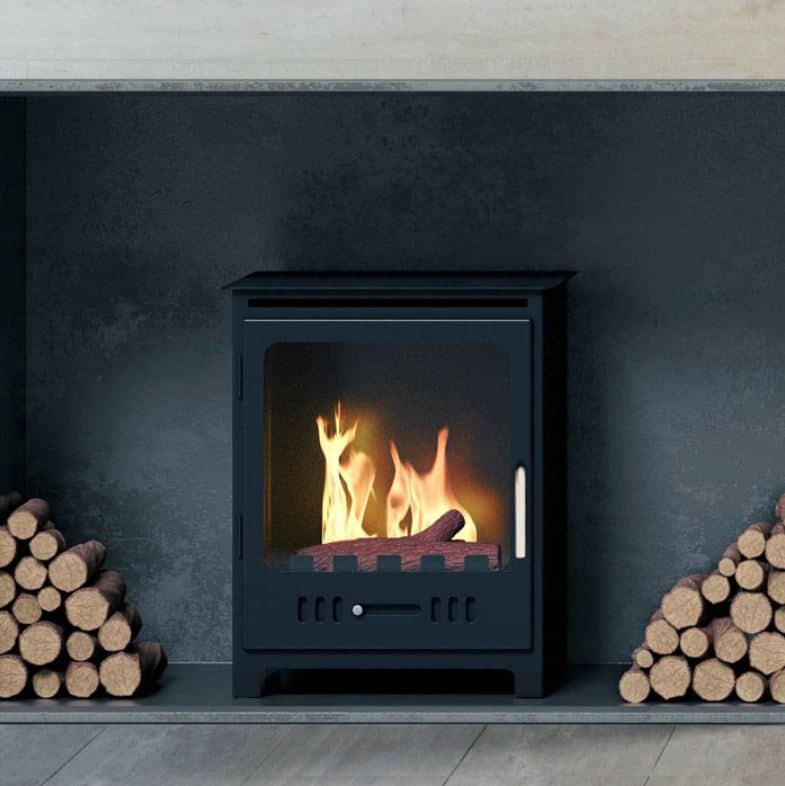 freestanding ethanol fireplace with logs