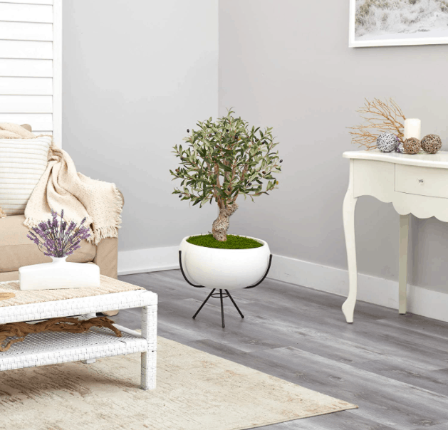 3 Feet Olive Artificial Tree In White Planter With Metal Stand